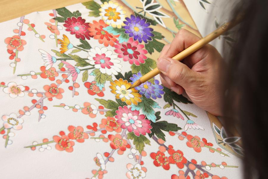 加賀友禅工房での彩色体験イメージ